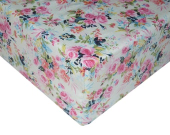 Fitted Crib Sheet, Girl Nursery, Floral Baby Bedding, Changing Pad Covers, Floral Nursery, Shabby Chic Nursery