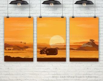 Rey Star Wars Poster. The Force Awakens Art Print. Pop Art Movie Art Prints. Pop Culture & Modern Home Decor. Set of 3 Prints. Item No.: 136