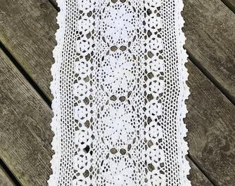 Vintage Crocheted Cotton Runner