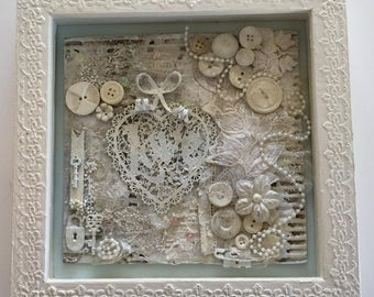 Mixed Media Art, Love Collage, Framed Shadow Box, wall art, gift for her, home decor, painting, handmade, one of a kind, mixed media collage