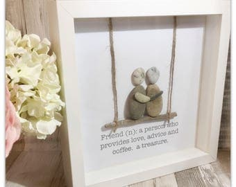 Handmade Pebble Art, Pebble Art Friends, Pebble Picture Friends, Pebble Gifts, Framed Pebble Pictures.