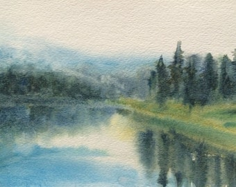 Watercolor landscape, Misty landscape, Pacific Northwest, Northwest art, North Cascades, Misty trees, Misty pines, Lake reflection,