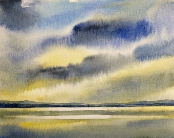 Puget Sound, landscape watercolor, storm clouds, stormy skies, sea painting, stormy seas, landscape painting, storm landscape, Northwest