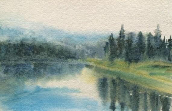 Watercolor landscape, Misty landscape, Pacific Northwest, Northwest art, North Cascades, Misty trees, Misty pines, Lake reflection,