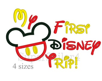 Mouse First Trip applique, My first Disney Trip applique, Mickey applique design
