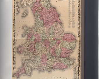 Canvas 24x36; Map Of England And Wales 1862