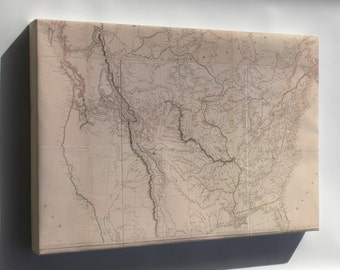 Canvas 24x36; Map Of Interior Of United States Of America 1814