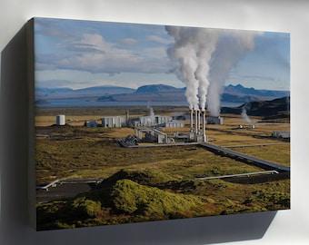 Canvas 24x36; Nesjavellir Geothermal Power Plant In Þingvellir, Iceland