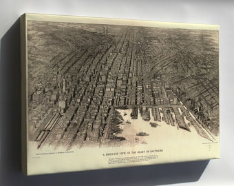 Canvas 24x36; Birdseye View Map Of The Heart Of Baltimore 1912