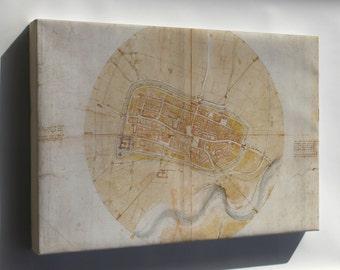 Canvas 24x36; Plan Map Of Imola, Italy By Leonardo Da Vinci C1502