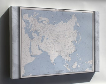 Canvas 24x36; Cia Map Of Asia And Europe 1975