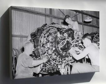 Canvas 24x36; Allison J33 Maintenance Korean War 1950