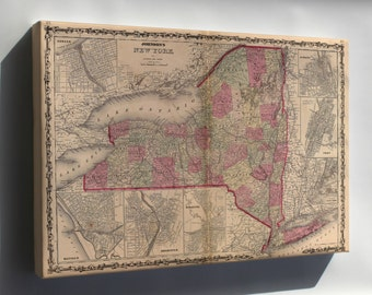 Canvas 16x24; Map Of New York State 1862