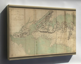 Canvas 16x24; Map Of New York Staten Island Long Island 1782