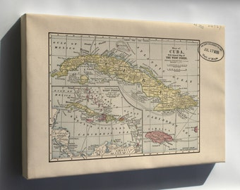 Canvas 16x24; Map Of Cuba & West Indies 1899
