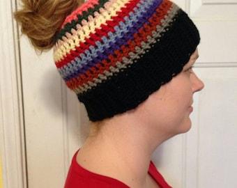 Messy bun hat, beanie, colorful, knit