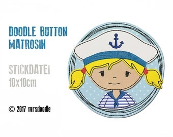 Embroidery - sailor girl - Doodle button 10 x 10