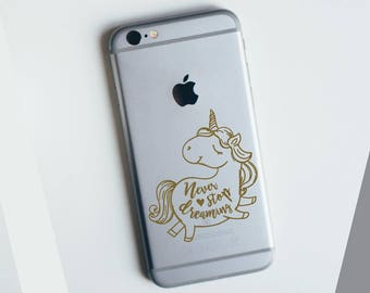 Never Stop Dreaming Unicorn Apple iPhone Decal