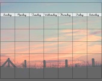 sunset dry erase framed calendar 8x10