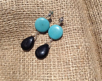 Black Agate and Turquoise Earrings