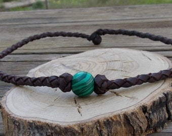 Leather man necklace,leather woman necklace, leather necklace, leather pendant, leather jewelry, girl necklace, boy necklace, green necklace
