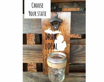 Beer Opener Wall Mount - Wedding Gift - Traditional Anniversary Gift - Wood Anniversary Gift - Personalized Wedding Gift - Bottle Opener