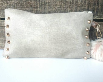 Hand bag in faux Tan Leather and leatherette snake trendy small bag, accessories pouch bag pattern