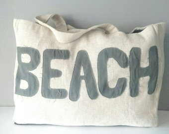Bag Tote in off-white burlap with letter in cotton large volume made hands