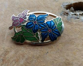 Vintage Cloisonne Brooch - Flower and Butterfly - Enamel jewelry - Gold