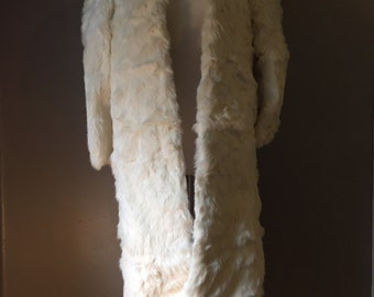 Vintage rabbit fur coat/Cream/Long coat/Size:M
