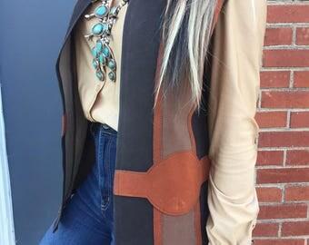 Vintage 70's vest/brown/tan/Size:Medium-Large