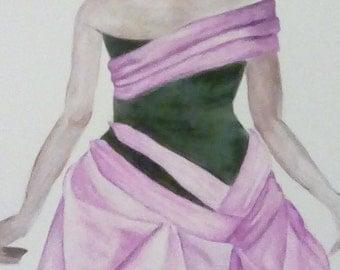 Modern Bustle Dress - Art Print