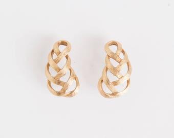 80s Gold Leaf Earring