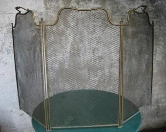 Antique French fireplace screen, fireguard, spark screen.
