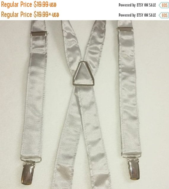 """Winter Sale Sale  CLEARANCE  """"Silver Satin"""" Suspenders with Pre-tied Bow Tie Set      Adult Size"""