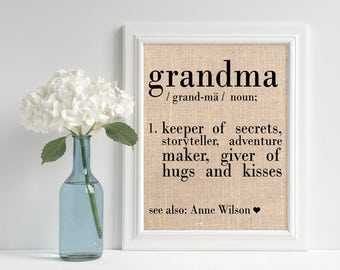 Definition of Grandma, Burlap Art Print, Gift from Grandson, Grandparents Day, Birthday Gift for Grandma, ,Burlap Print, Nanna, Grammy