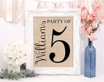 Party of 5 Sign, Pregnancy Reveal, Housewarming Gift, Baby Announcement, Family Number Farmhouse Style Burlap Print, Gallery Wall Decor