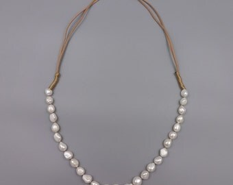 Fresh Water Pearl and Leather Long Necklace