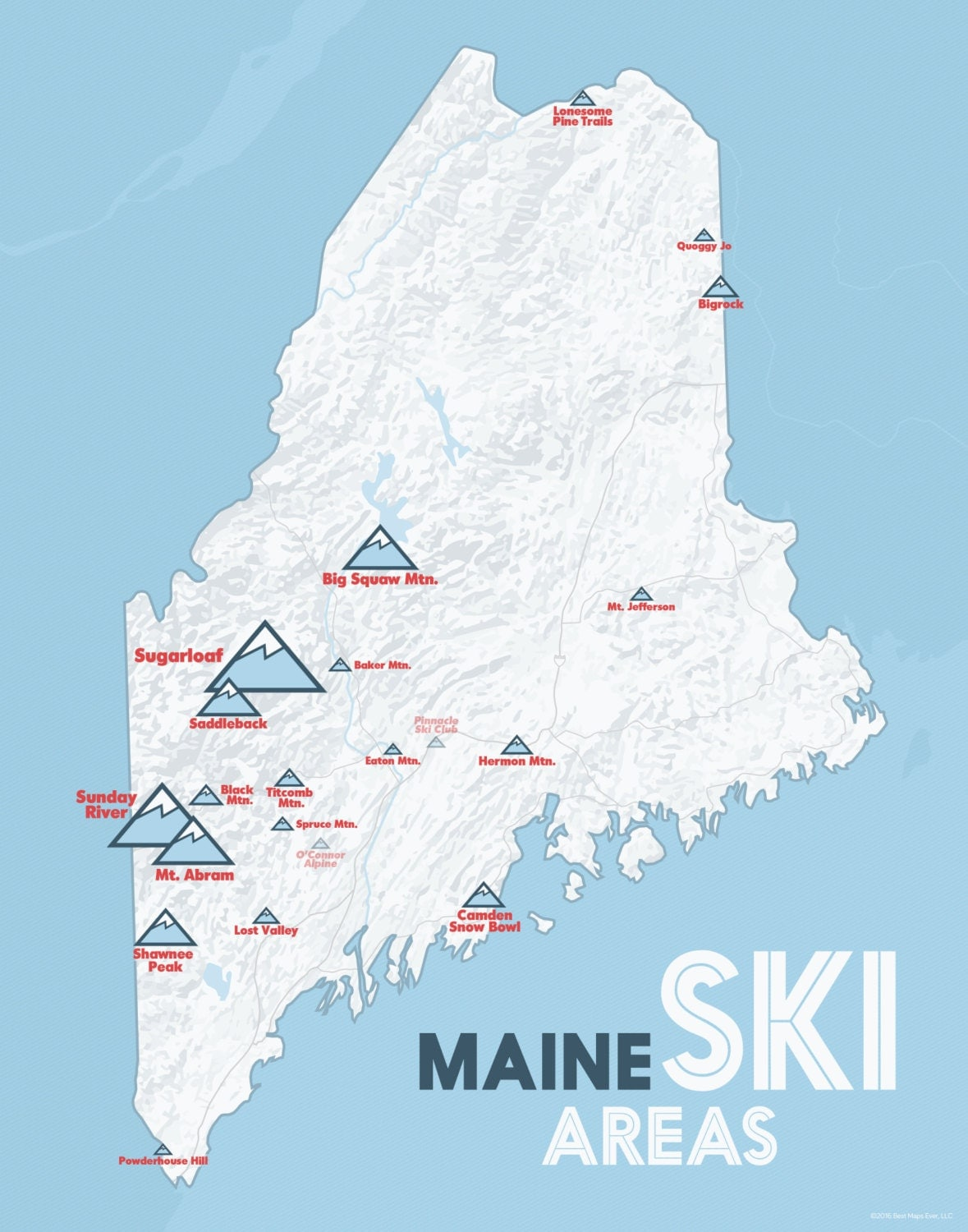 Maine Ski Resorts Map 11x14 Print by BestMapsEver on Etsy