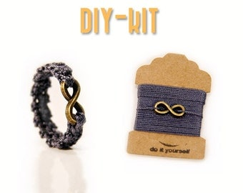 diy gift kit - DIY jewelry kit - free crochet pattern - DIY Infinity ring - crochet thread - DIY ring kit - diy jewelry - MudenoMade