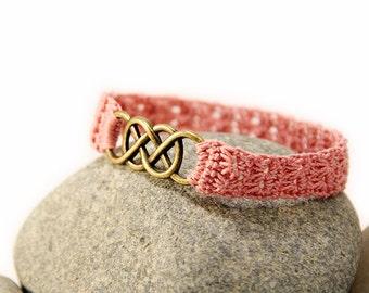 double infinity bracelet - friendship jewelry - best friend - best friend gift - crocheted bracelet - crochet jewelry - MudenoMade