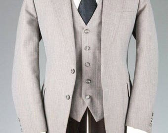 ON SALE Vintage MOD Morville Gray Pinstripe 3 Piece Vested Indie Suit 41 R