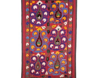 Vintage  SUZANI embroidery , wall hanging, cover from Samarkand, UZBEKISTAN Id-566 , ships free with ups