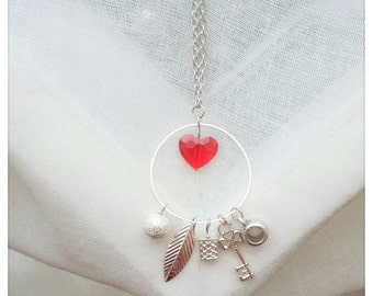"Necklace Swarovski Crystal ""Key to my heart"""