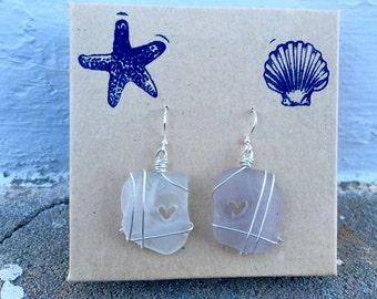 One Clear One Lavender Sea Glass Earrings