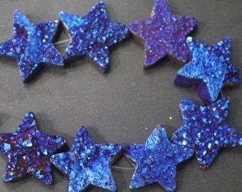 5 pcs  Druzy Beads, Druzy Quartz Beads,Star Drilled Druzy Beads,Cabochon Beads