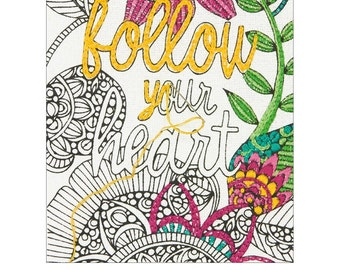 Dimensions Embroidery Coloring Kit - Follow Your Heart #71-06246