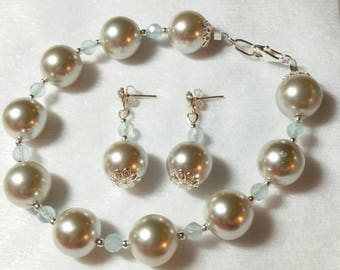 Sale 100 off Silver South Seas Pearl Shell and Aquamarine bracelet & earrings