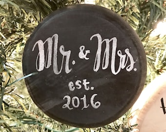 Wedding Christmas Ornament, Couple's First Christmas, First Christmas Ornament Married, Rustic Christmas Ornament, Farmhouse Ornament
