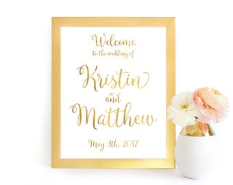 Gold Wedding Welcome Sign, Gold Welcome Sign, Wedding Reception Sign, Custom Wedding Welcome Sign, DIY Welcome Sign, GFWF